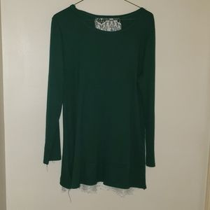Green and lace blouse